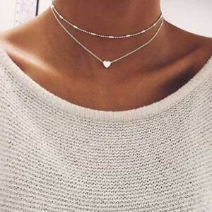 Fashion-Charm-Jewelry-Pendant-Chain-Heart-Choker-Chunky-Statement-Bib-Necklace