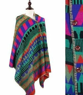 Winter Women/'s Colorful Chevron Knit Poncho Wrap Shawl