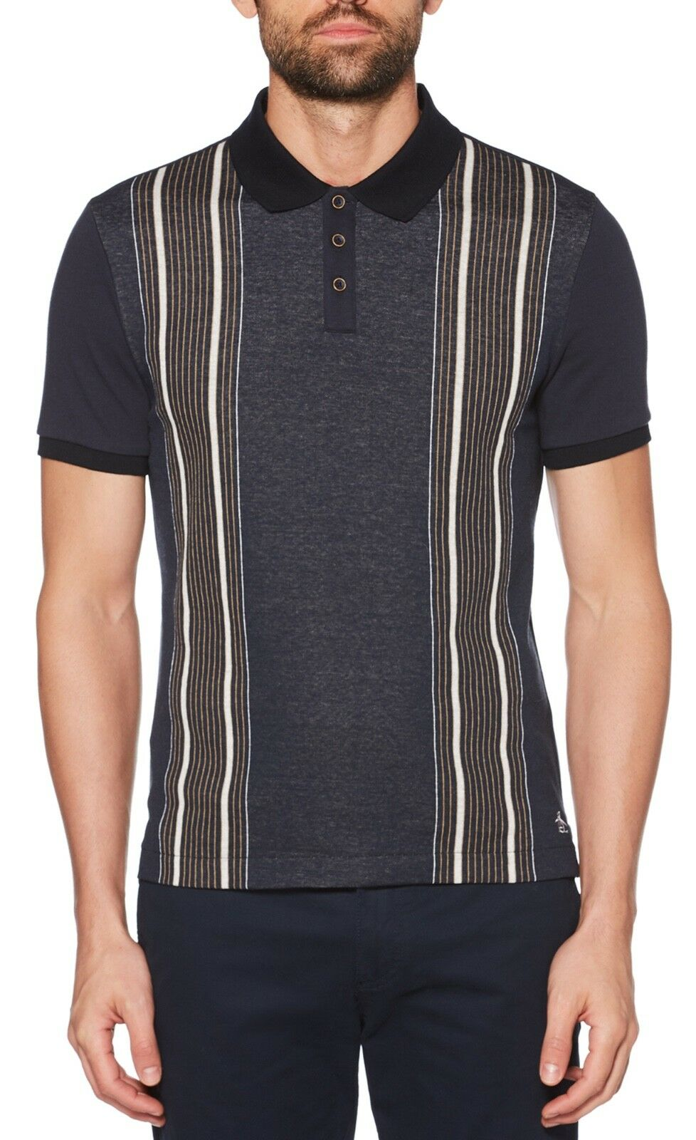Original Penguin Mens greenical Stripe Casual Cotton Polo Shirt Raised Piqué Top