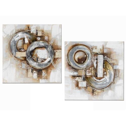 2er SET Wandbilder, Wanddeko MODERN ANTIK 60x60cm silber gold grau braun Formano