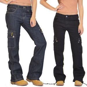 New Womens Ladies Wide Loose Denim Combat Trousers Cargo Jeans Boyfriend Pants