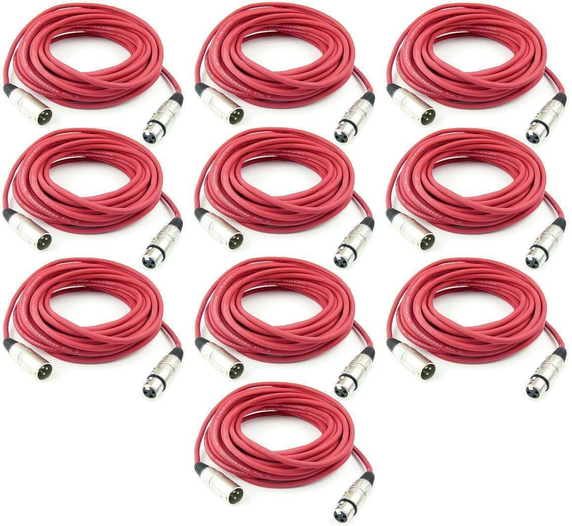 10 St. 10 m PROFI Mikrofonkabel ROT Adam Hall K3 MMF 1000 XLR DMX Mikrofon Kabel