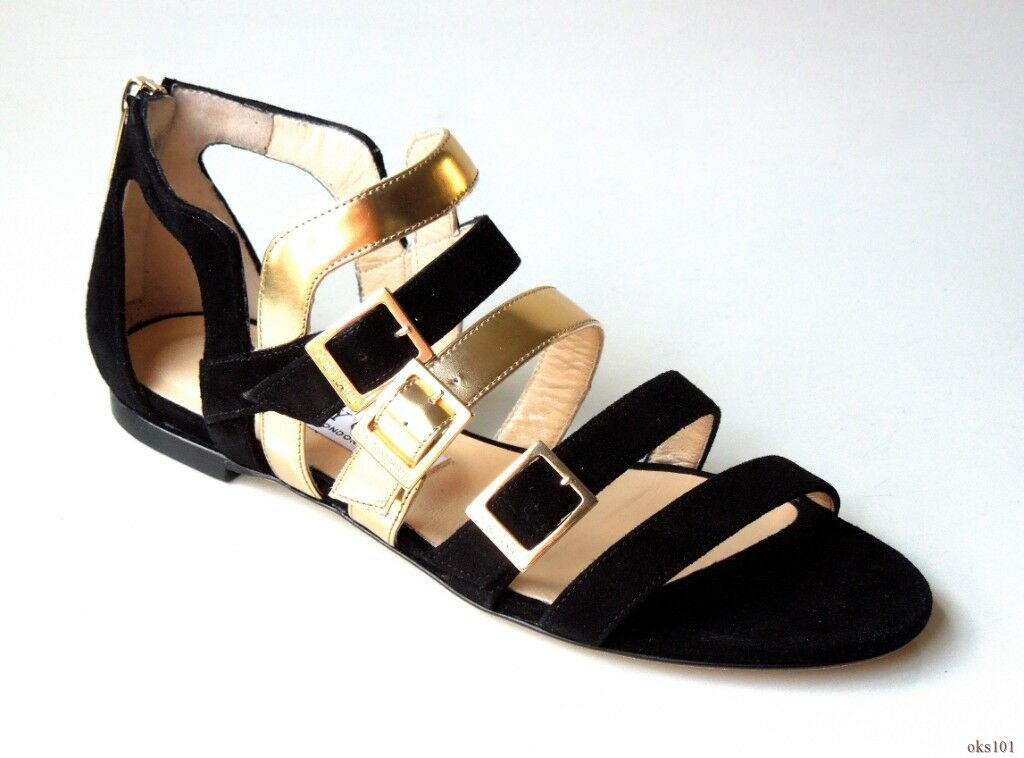 New  925 JIMMY CHOO 'Bloom' black gold open-toe logo buckle flat shoes 37 US 7