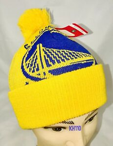 NBD Golden State Warriors Big Logo Pom Beanie (Yellow Color ... 74968ea75ee1