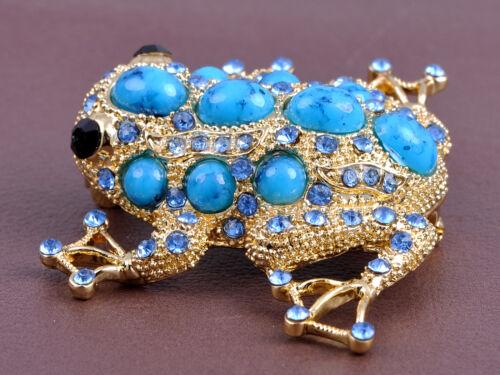 Sapphire Alloy Crystal Bead Embedded Golden Frog Toad Costume Jewelry Pin Brooch