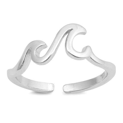 Réglable peu vagues toe ring sterling argent 925 bijoux cadeau 5 mm