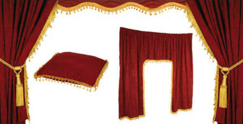 GOLD FOR DAF TRUCK CABIN CURTAIN SET ALL RIDE 5pc LORRY RED