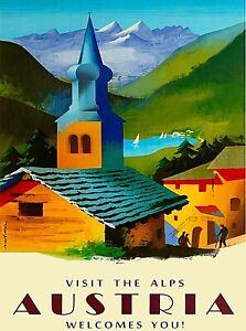Austria Travel Poster Vintage Art Deco Poster Austrian Alps Poster Alps Print Au