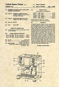 Official Espresso /& Cappucino Machine US Patent Art Print Krups Coffee 418