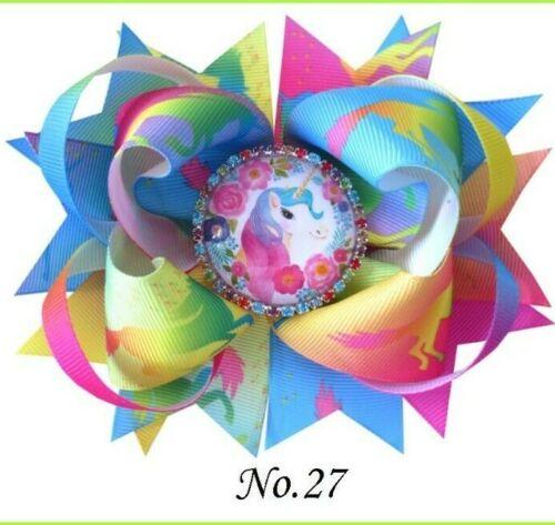 "30 BLESSING Girl Boutique 5.5/"" Cartoon Romantic Hair Bow Clip Crystal Unicorn"