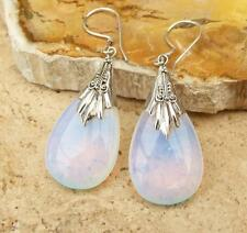 Bali Opalite Glass 925 Silver Teardrop Earrings Jewellery