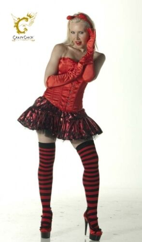 Ladies Over The Knee Red And Black Stripy Stripey Socks Sox Striped Thigh Witch