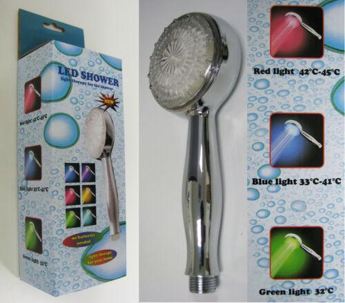 LED Light Shower Head Temperature Control RGB 3 Color Change Water Bath Bathroom