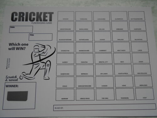 CRICKET THEMED 40 SPACE SCRATCH CARDS RAISE £100 -GREAT FUNDRAISER X 5 B/&W