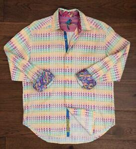ROBERT-GRAHAM-Men-s-Dress-Shirt-Sz-Large-Excellent-Cond-Blue-Purple-amp-Gold