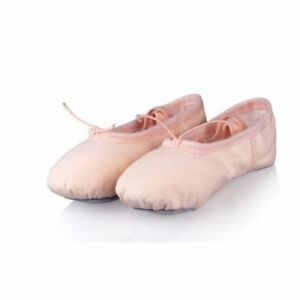 PINK-CANVAS-BALLET-DANCE-SHOES-Slippers-Slippers-Beige-Nude-Dancing-Yoga-Shoe