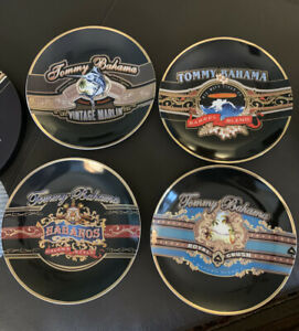 Tommy-Bahama-Cigar-Band-Plates-7-inch-Lunch-Dessert-Tapas-NIB-Set-of-4-Ltd-Ed