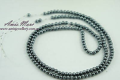 180pcs Pearl Beads 4mm Dark Grey Color Imitation Acrylic Round Pearl Spacer