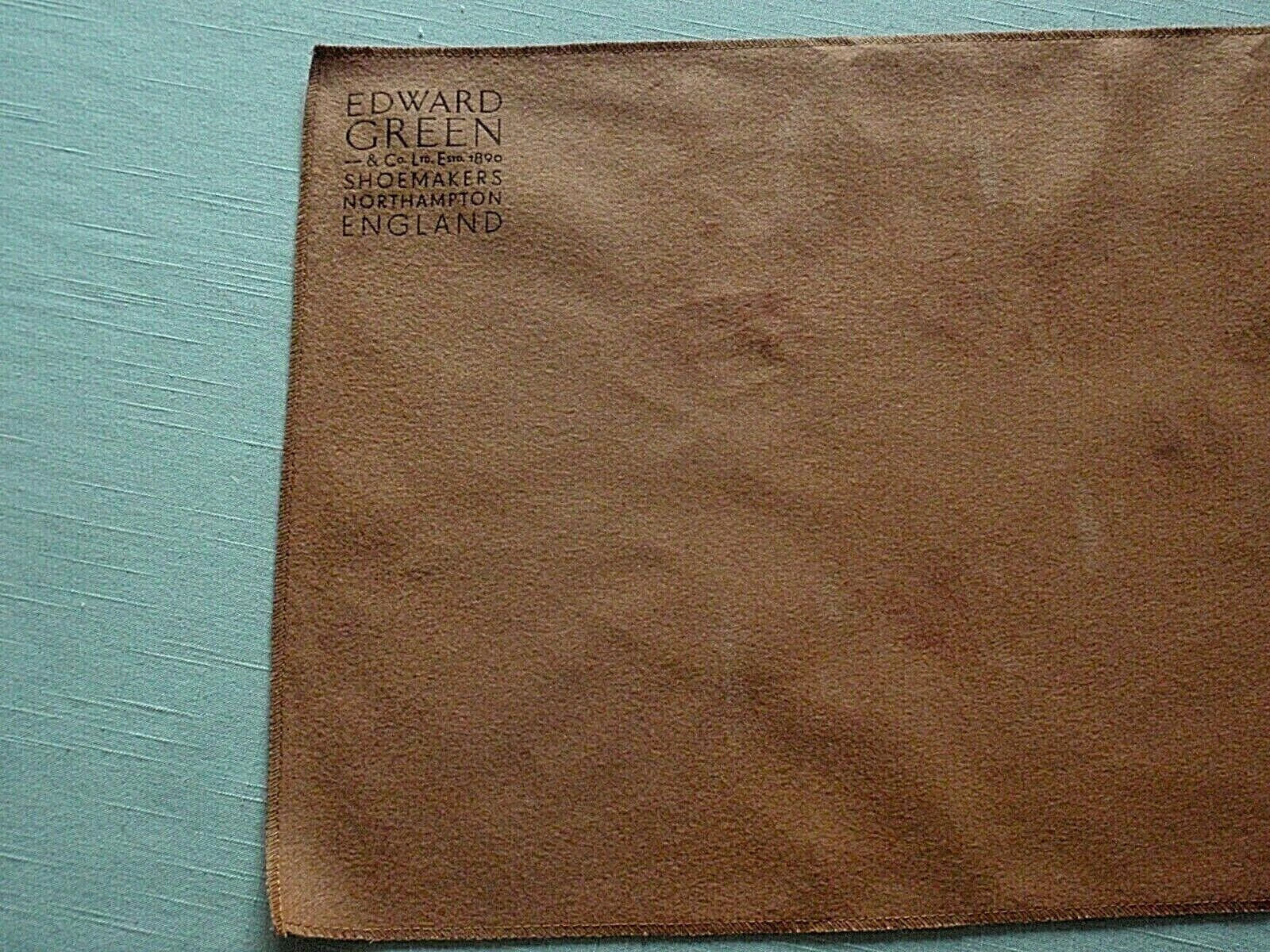 NEW EDWARD Green Brown Brushed Cotton Polishing Cloth / Dust Wrap For Shoes