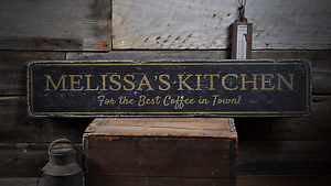 Custom Kitchen Best Coffee In Town Rustic Distressed Wood Sign ENS1001776