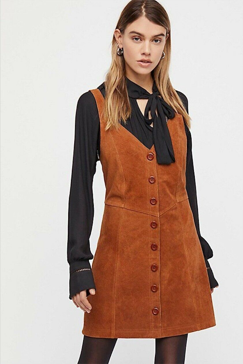 Free People Abbie Suede Mini Dress Size 2 NEW MSRP   168