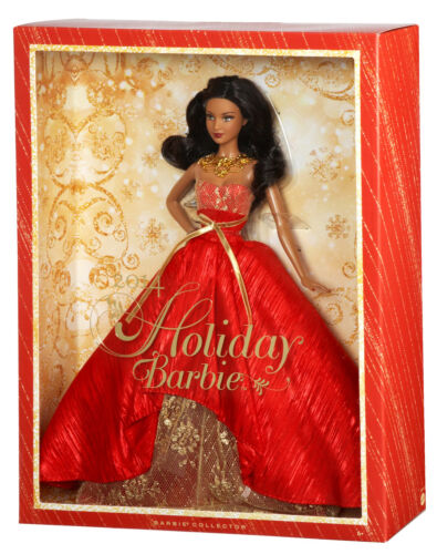 NEW 2014 Holiday Barbie Black Hair Collector Edition Christmas Gold Red wStand