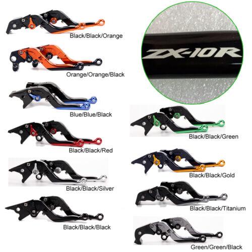 LOGO Folding extendable brake clutch levers For Kawasaki ninja ZX-10R 2016-2018