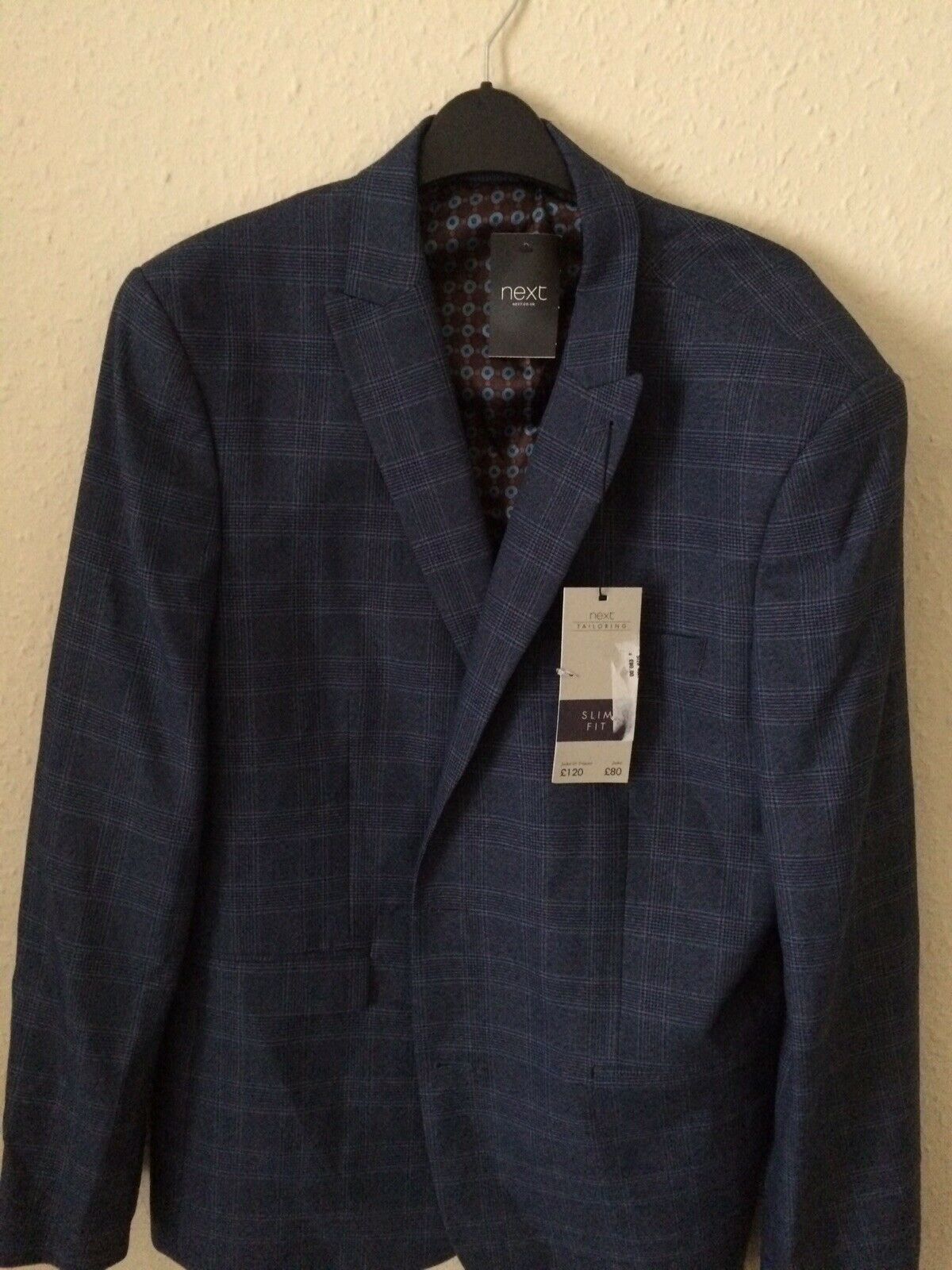 Mens Next Lovely Lined Suit Jacket Chest 46 R Slim fit