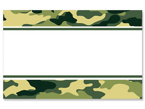 50ct Green Camo Camouflage Border Blank Florist Enclosure Cards