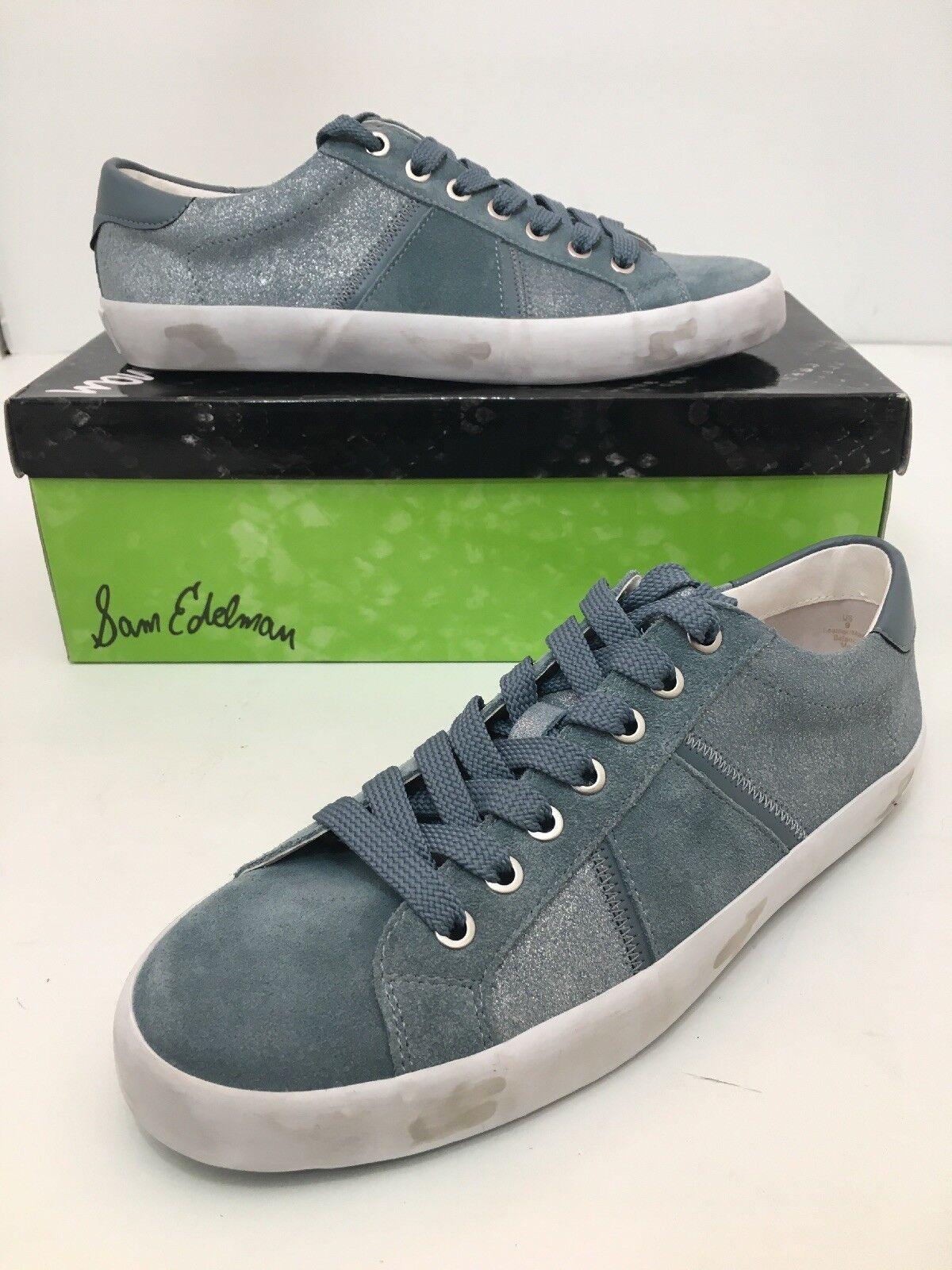 Sam Edelman Baylee Women's Sneakers Flats SIZE 9 M bluee Shadow Shimmer Suede