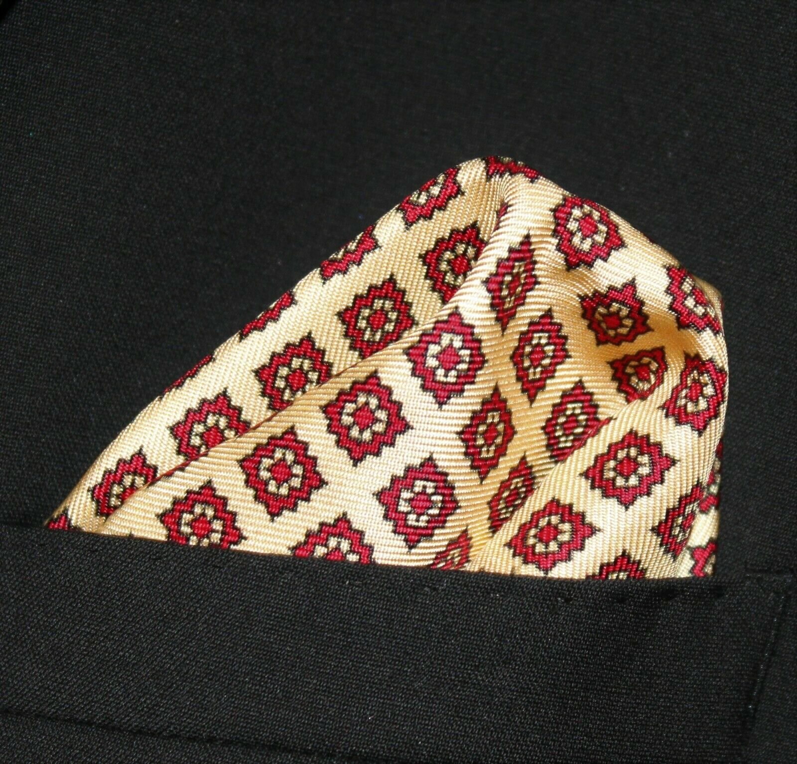 100% SILK Pocket Square Handkerchief - UK Made - Light Gold & Red DBH-03