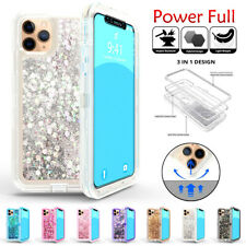 For iPhone 11 Pro Max Bling Quicksand Glitter Liquid Armor Defender Case Cover