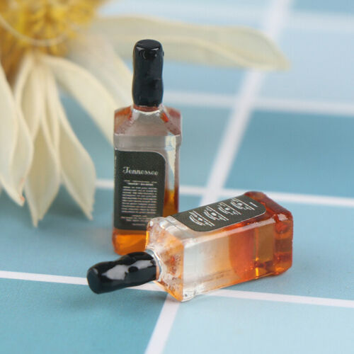 2Pcs 1//12 Dollhouse Miniature Accessories Resin Wine Bottles Doll House AE