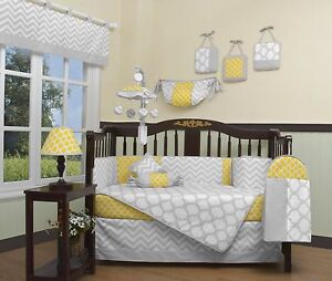 Details About Crib Bedding Yellow Gray Chevron 13 Pc Set Boy Baby Infant Toddler Quilt