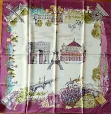 LONGCHAMP Schal Tuch Seide weiß beige bordeaux lila Paris Eiffelturm  NEU!
