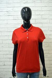 Polo-Maglia-Donna-TOMMY-HILFIGER-Taglia-XL-Camicia-Shirt-Women-Jersey-Frau-Rosso