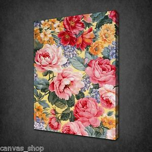 COLOURFUL FLOWERS CANVAS PRINT WALL DESIGN READY TO HANG