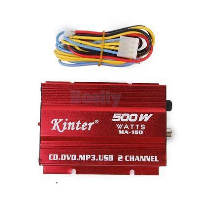 12V Mini 2CH Kinter HI-FI Stereo Car Power Amplifier CD DVD MP3 USB+ Cable
