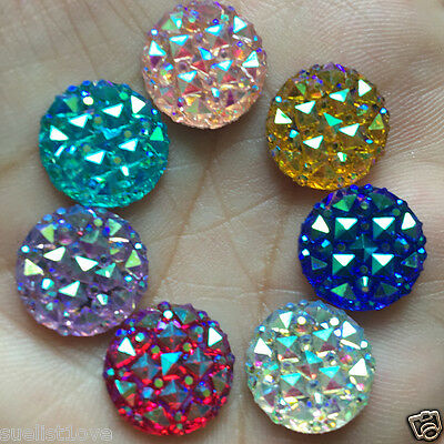 DIY 40pcs 12mm Round AB Resin flatback Scrapbooking for phone/wedding Crafts
