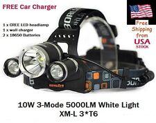 CREE XLamp XM-L 3*T6 5000 Lumen LED Headlamp 18650 Batteries Car Charger Fishing
