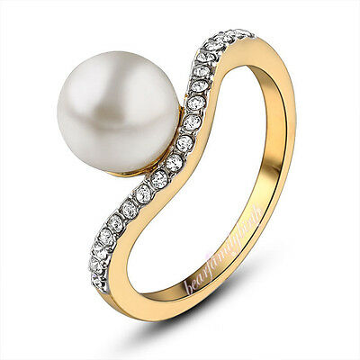 Fine Element Crystal&Pearl Ring Twisted 18k GP Women's Party Gift Size 6 R643