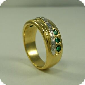 18ct-Gold-Emerald-and-Diamond-Ring