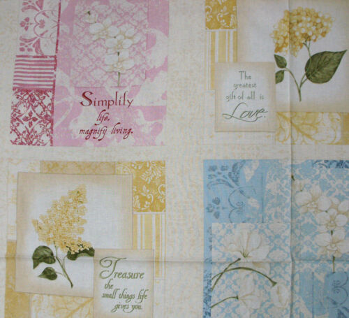 Patchwork Quilting Sewing Fabric BOTANICAL BLOOMS FLORAL Panel Material 63x11...