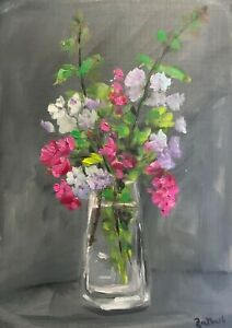 Print-of-Original-oil-painting-art-Vase-of-flowers-impressionism-shabby-chic
