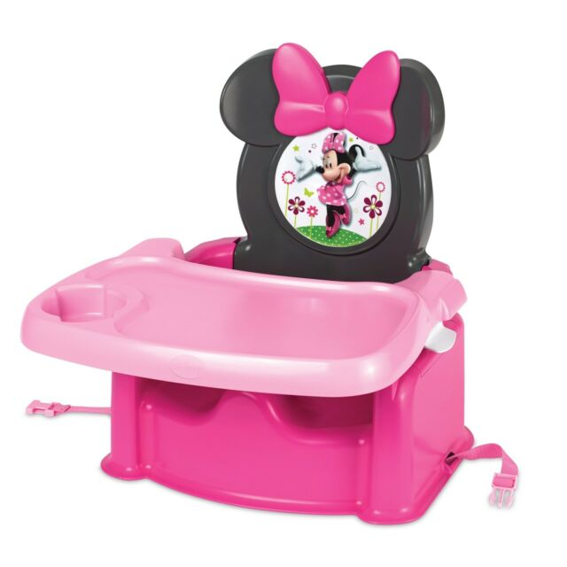 Minnie Mouse Seat Booster High Chair Tray Feeding Food Girls Toddlers Portable  sc 1 st  eBay & Minnie Mouse Booster Seat High Chair Food Tray Feeding Girls ...