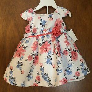 Nanette Baby White Pink Flower Girl Baby Toddler Dress Set Bloomers Diaper 3/6m