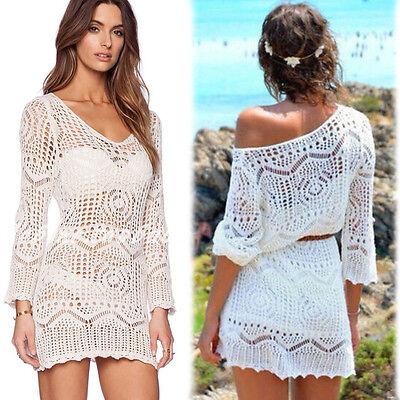 Gexy Women Lace Crochet Bikini Cover Up Swimwear Bathing Suit Summer Beach Dress