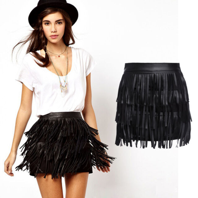 Sexy Womens High Waist Pleated PU Tassels Short Mini Skirt Skater Flared Dress