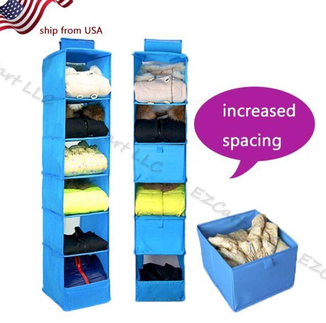 Charmant 6 Shelf Hanging Organizer Closet Rod Black Fabric Storage Pant Bag Clothes  US