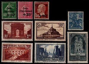 L'ANNÉE 1929 sauf 257A, Neufs * = Cote 673 € / Lot Timbres France